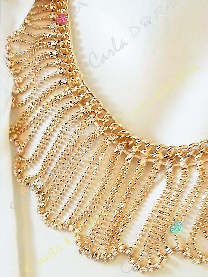 collier ras du cou fantaisie pampilles chaines multi rangs  - bijou femme chic