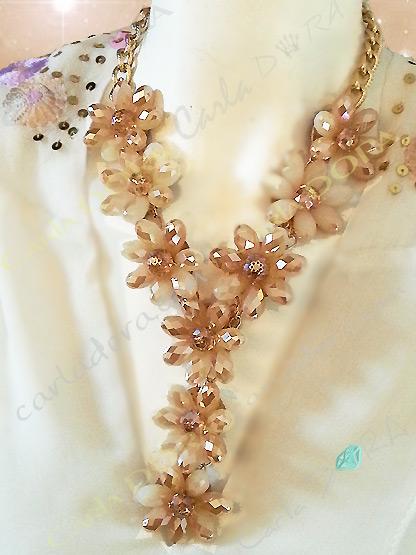 collier femme ras du cou cristal beige irise - bijou femme cristal elegant et chic