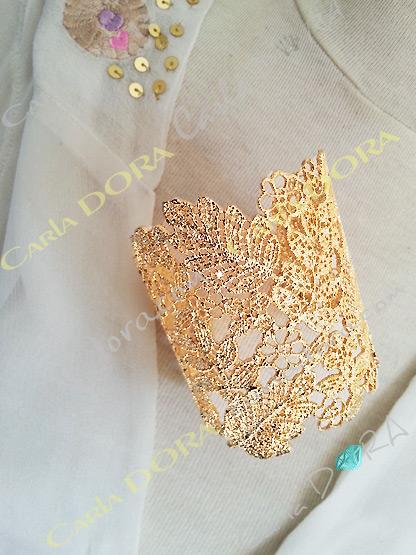 bracelet manchette cisele dore, bracelet tendance femme