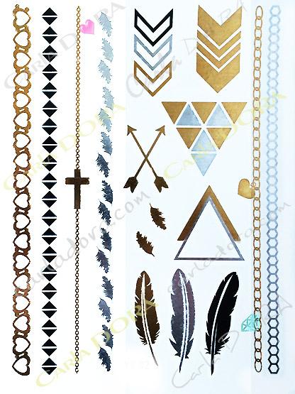 tattoo metal or argent plume bijou de peau hippie chic, bijou tatouage corps or argent fleche plume coeur croix