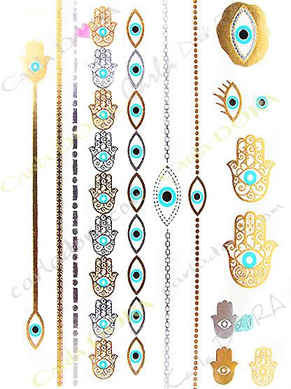 tatouage main fatma tattoos contre mauvais oeil or et bleu turquoise, tatouage stickers