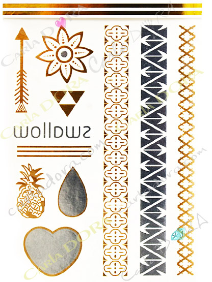 tatouage decalcomanie bijou de peau metal  argente et or , tattoo bracelet coeur ananas fleur fleche