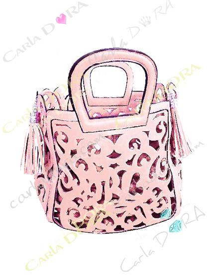 petit sac main femme ajoure couleur rose poudre pompon, petit sac main couleur rose ete arabesque