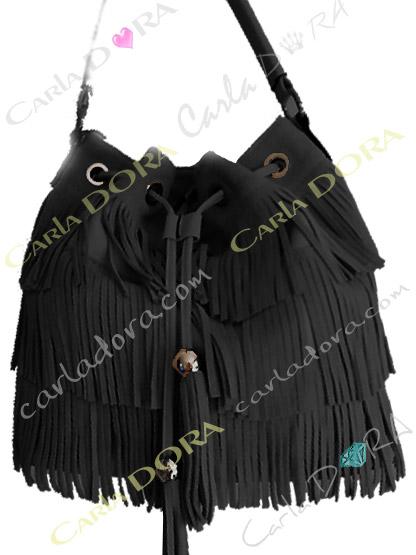 sac femme tendance daim a franges noir, sac main femme a franges hippie chic