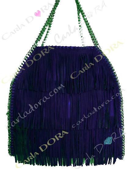 sac main femme daim bleu marine a franges, sac femme hippie chic porte mains bleu marine