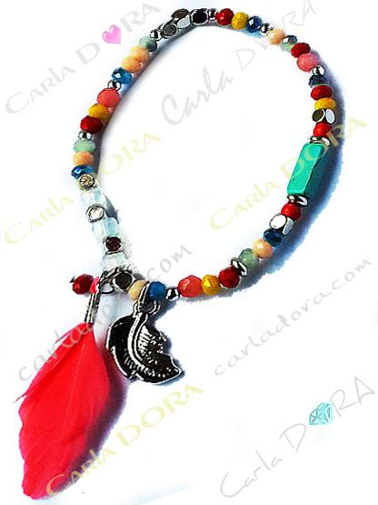 bracelet fantaisie femme elastique plume perles cristal et metal a facettes