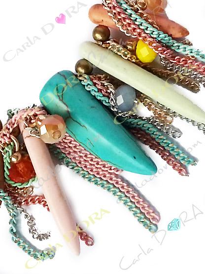 bracelet fantaisie femme pastel pampilles perles chaine cristal dent turquoise