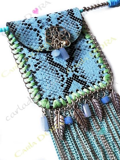 collier sautoir fantaisie femme pochette a pampille chainette, collier fantaisie femme