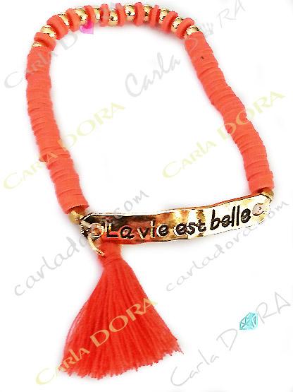 bracelet la vie est belle corail et or elastique a pompon