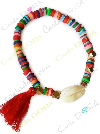 bracelet coquillage perles multicolores