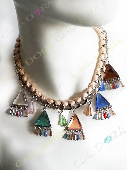 collier femme hippie chic cabochons multicolore, collier ras du cou fantaisie