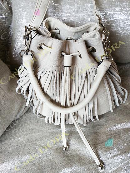 sac femme bourse daim blanc beige a franges, sac main femme bourse a franges hippie chic