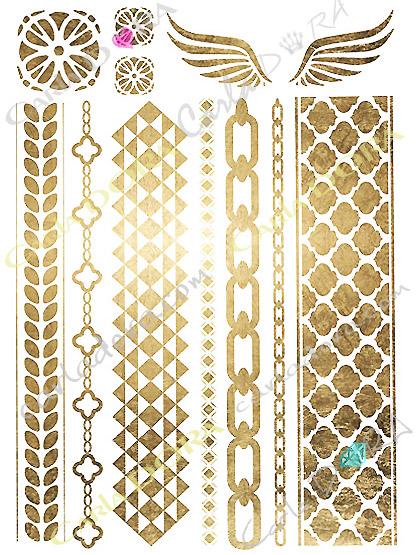bijou peau or bracelet temporaire chaine brassard, bijou de peau dore chaine gourmette