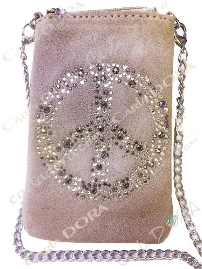 pochette telephone portable peace and love strass daim beige taupe