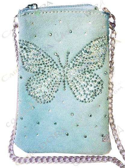 etui telephone portable papillon daim turquoise clair strass