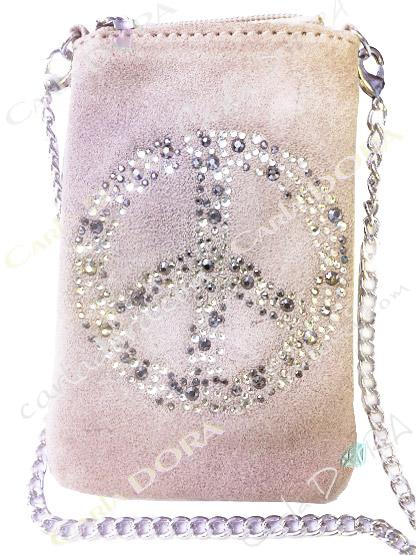 pochette telephone femme peace and love strass daim blanc casse