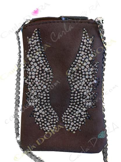 pochette telephone femme portable brun chocolat ailes, pochette telephone femme mobile daim brun choco