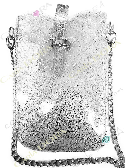 housse telephone portable femme vinyle paillete, housse argentee pour mobile paillettes fines avec bandouliere