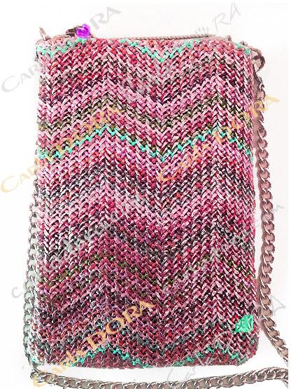 pochette telephone femme portable tissage argent et couleurs multicolores metalisees