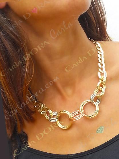 collier fantaisie 3 or anneaux entrelaces, collier plaque or pas cher