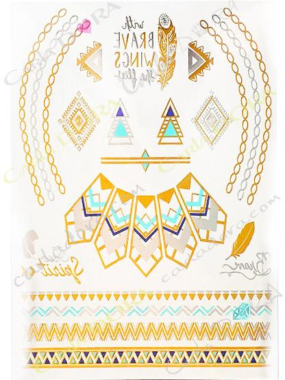 metal tattoo hippie chic amerindien apache dore argent, tattoo temporaire decalcomanie amerindien apache or et argent me