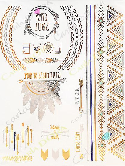 tattoo raffine indien apache iroquois argent et or metalise