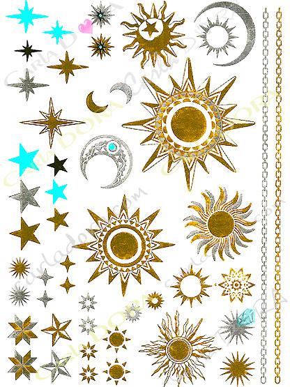 bijou peau phosphorescent soleil croissant de lune etoile or argent, bijou de peau dore argent turquoise