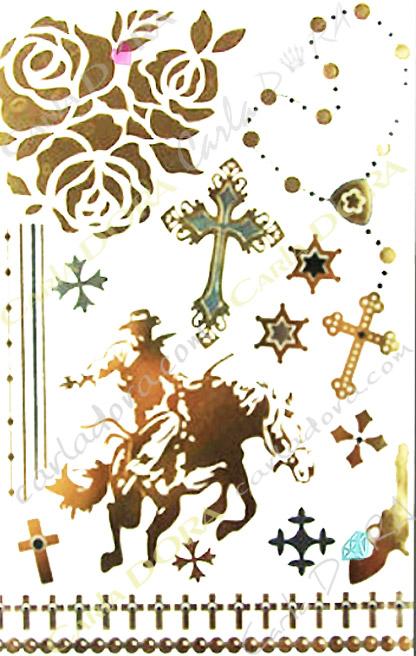 tattoo western croix et cow boy metalise, bijoux ephemeres tatoo cheval au galop