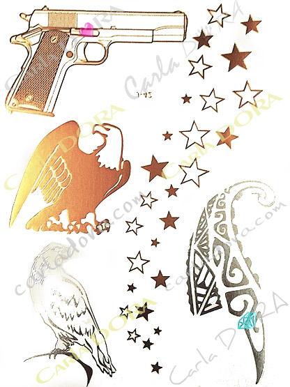 tattoo gun tattoo aigle tatouage revolver metalise, bijoux ephemeres tatoo armes