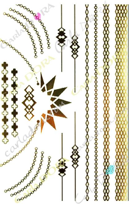 bijou peau or collier bracelet chaine fine et brassard, bijou de peau dore chaine et collier