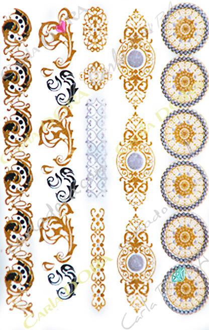 tattoo arabesque ciselee or et noir bijou de peau feuille d