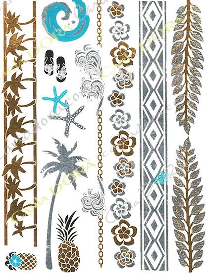 tattoo feuille or argent turquoise beach holidays palmier bijou de peau feuille d