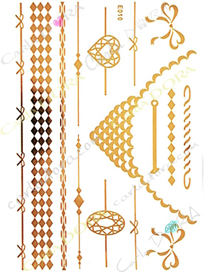 tattoo metal or collier bracelet chaine fine et brassard, bijou de peau metal dore chaine et collier