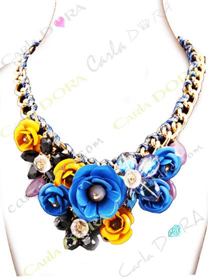 bijoux collier ras du cou fleur cristal et metal, collier fleurs en cristal