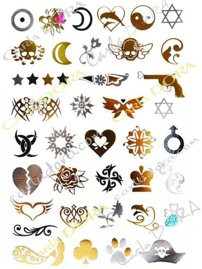 mini tattoo star coeur noir argent dore metal, petit tatouage etoile de david argent
