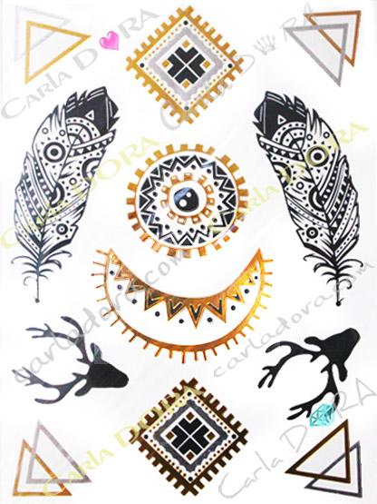 metal tatouage amerindien apache dore argent, metal temporaire decalcomanie amerindien apache or et argent