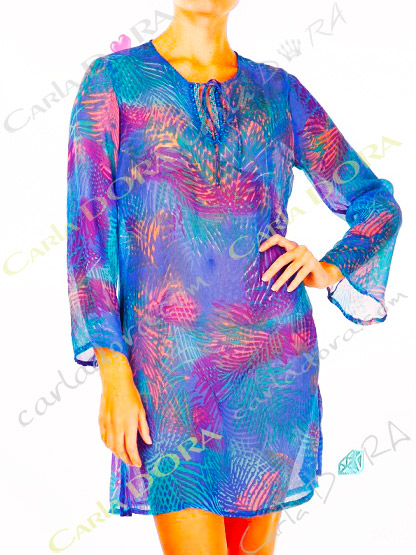 tunique femme fluide bleu  roi turquoise, top femme tunique plage a la mode