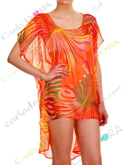 tunique femme fluide asymetrique flamboyant corail, top femme fashion court devant long derriere