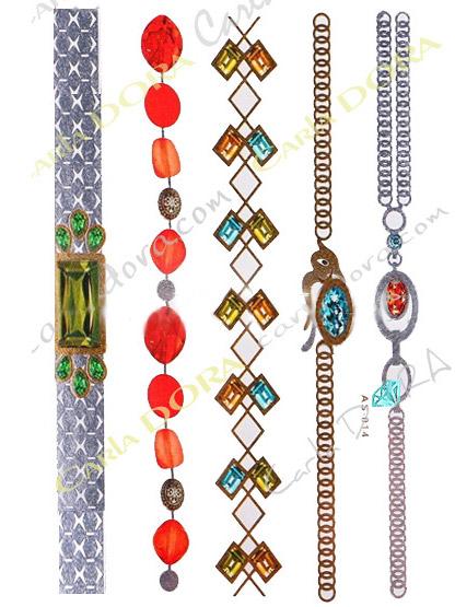 bijou peau bracelet couleur pierres fines et metal, tatouage bracelet pierres precieuses