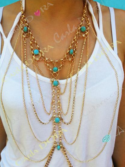 bijou de corps chaine or et turquoise, bijou fantaisie pour le corps dore et turquoise