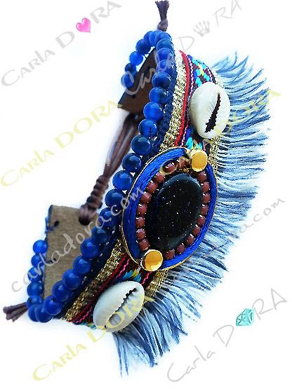 bracelet coquillage bresilien bleu marine hippie chic souple, bracelet fantaisie bresilien souple hippie chic femme