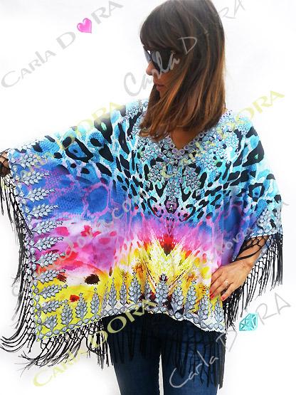 caftan femme hippie chic a franges multicolores