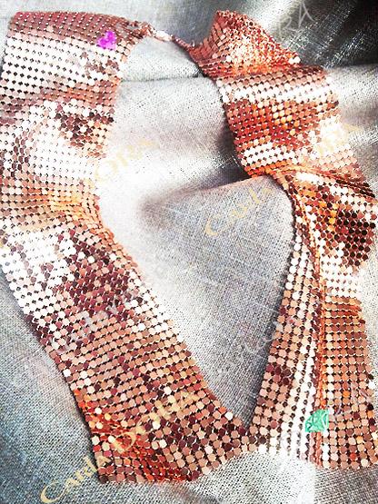 collier fantaisie col cuivre souple paillette, bijoux fantaisie collier