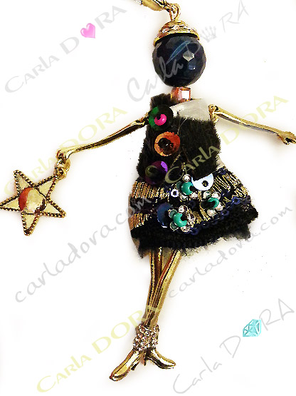collier fantaisie charm star femme sautoir fashion, bijou fantaisie star sautoir femme mode