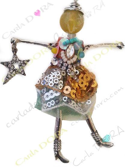 sautoir collier fantaisie poupee robe de fete, collier sautoir poupee tendance