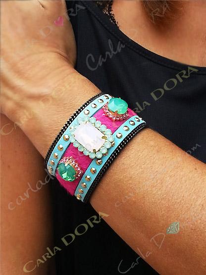 bracelet cabochon strass turquoise fushia