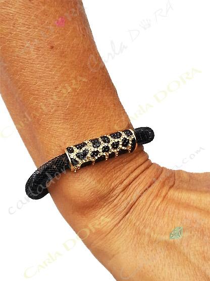 bracelet resille noire et panthere strass fermoir aimante, bracelet fermeture aimant