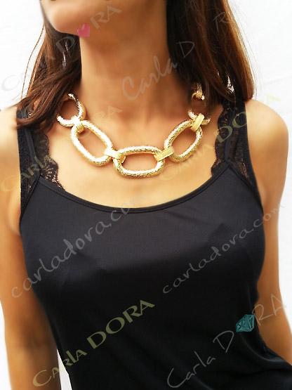collier fantaisie gros anneaux or entrelaces, collier anneaux dores