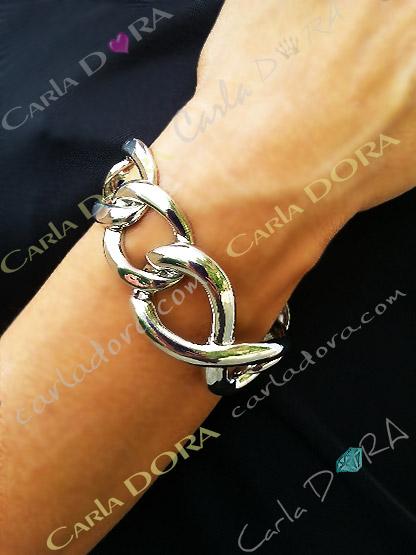 bracelet gourmette gros anneaux argent metal