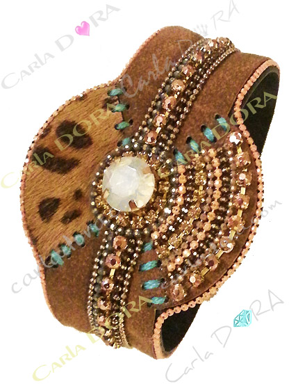 manchette hippie chic camel turquoise panthere